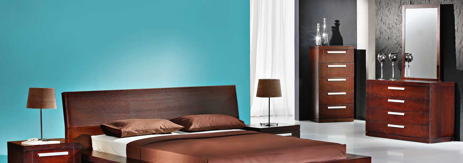 modern bedroom with turquoise wall